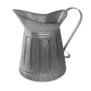 Benzara Vintage Style Galvanized Metal Milk Pitcher, Gray