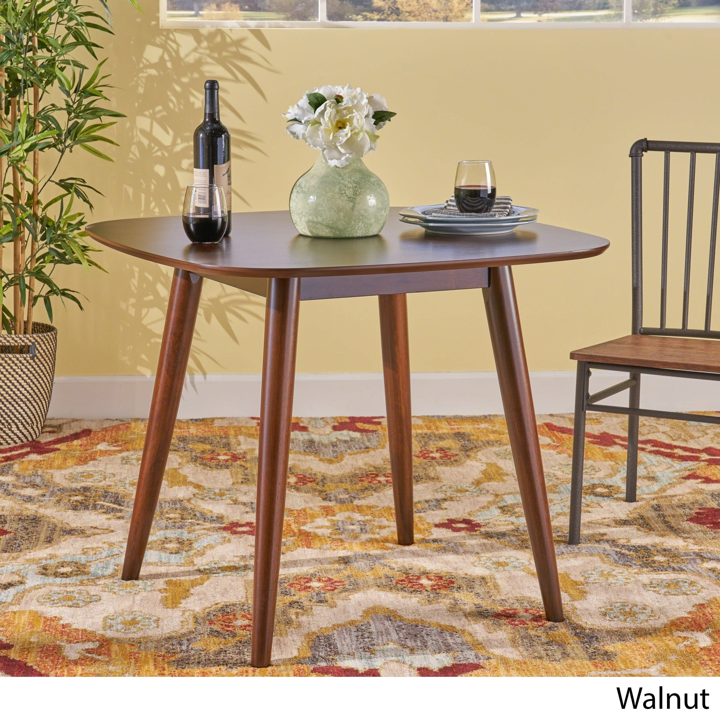 Wynonna Mid Century Modern Square Faux Wood Dining Table by Christopher  Knight Home