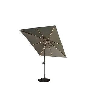 SORARA Patio Umbrella & Solar Powered 68 LED Lights, 7 by 9 Feet,Beige
