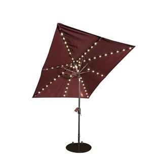 SORARA Patio Umbrella & Solar Powered 68 LED Lights, 7 by 9 Feet, Red