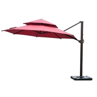 SORARA Offset Cantilever Umbrella Round Patio Hanging Umbrella, Red