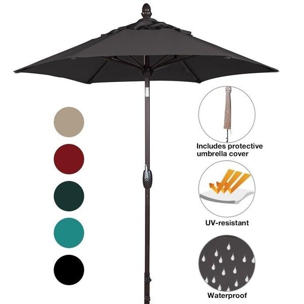 SORARA Patio Umbrella Outdoor Market Table Umbrella, 7 1/2 Feet, Black