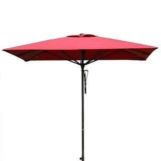 SORARA 8 by 8 Ft Patio Umbrella Aluminum Outdoor Table Umbrella, Red