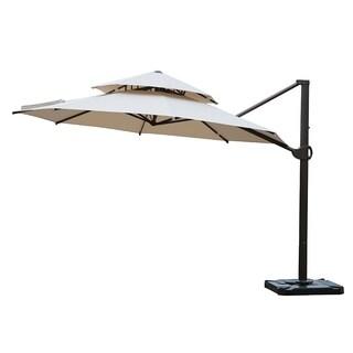 SORARA Round Patio Hanging Umbrella with Dual Wind Vent, Beige