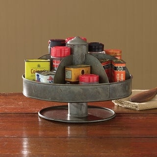 Benzara Galvanized Lazy Susan Organizer With 6 Pockets, Gray