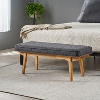 Reagan Mid Century Fabric Bench by Christopher Knight Home