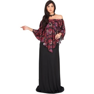 KOH KOH Womens Cocktail Modest One Shoulder Print Sun Flowy Maxi Dress