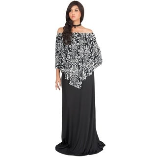 KOH KOH Womens Casual Sexy Floor Length Print Long Sleeve Maxi Dress
