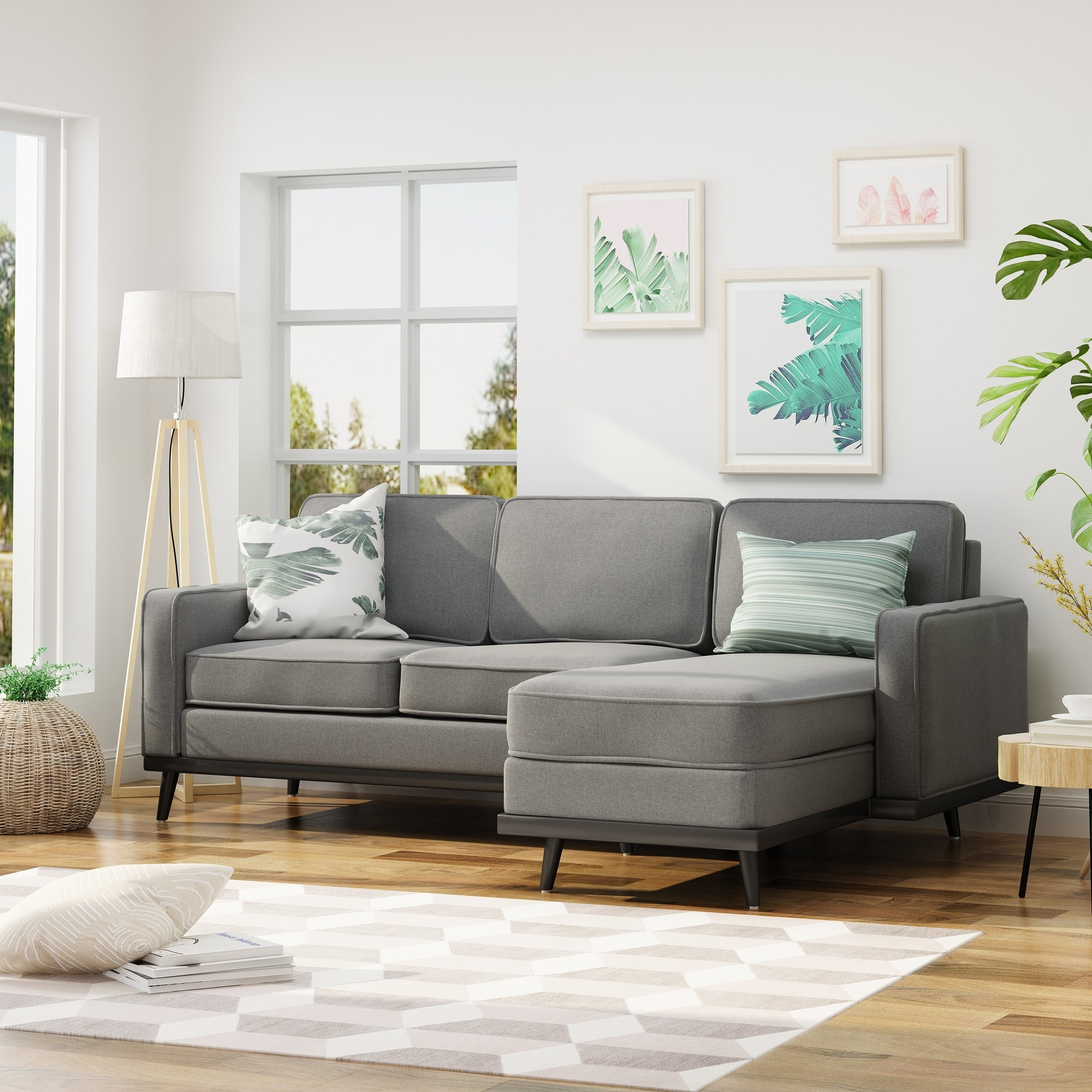 Matilda Mid Century Fabric Chaise Sectional Sofa By Christopher Knight Home  (Option: Grey)