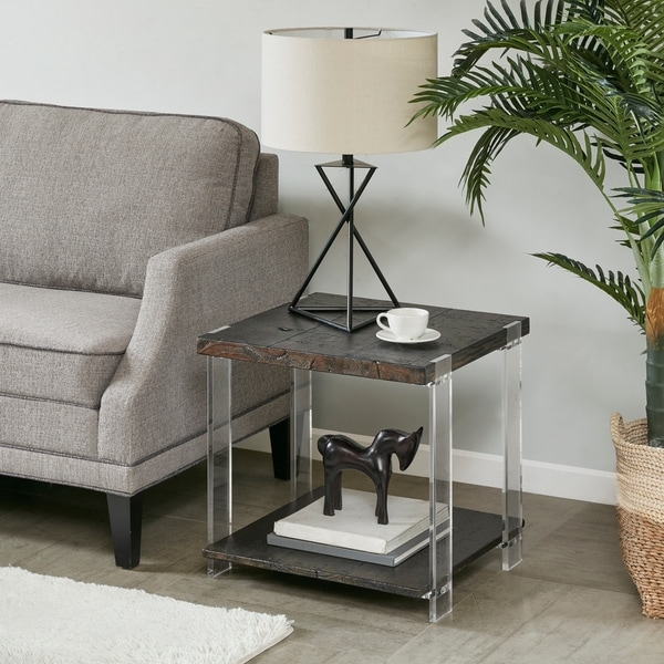 """Madison Park Alford Dark Brown End Table - 22""""w x 22""""d x 21""""h"""
