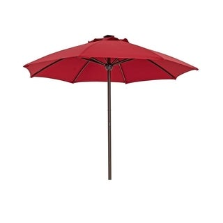SORARA Outdoor 9 ft Patio Umbrella LED Light with USB 8 Ribs, Red