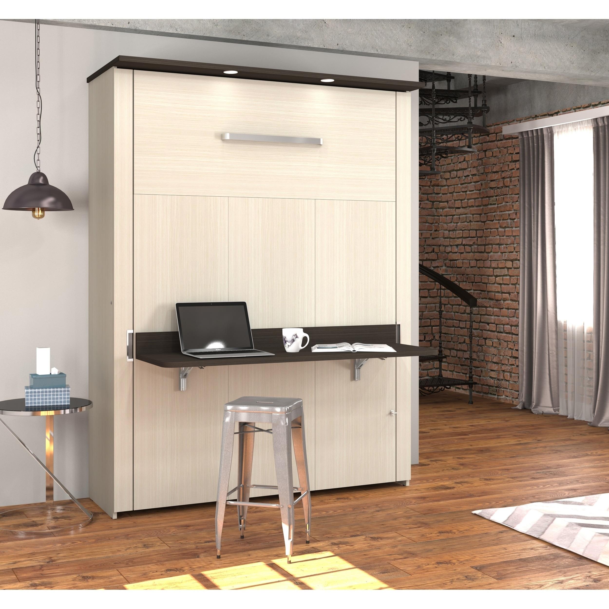 Bestar Lumina Queen Wall Bed With Desk In White Chocolate Dark