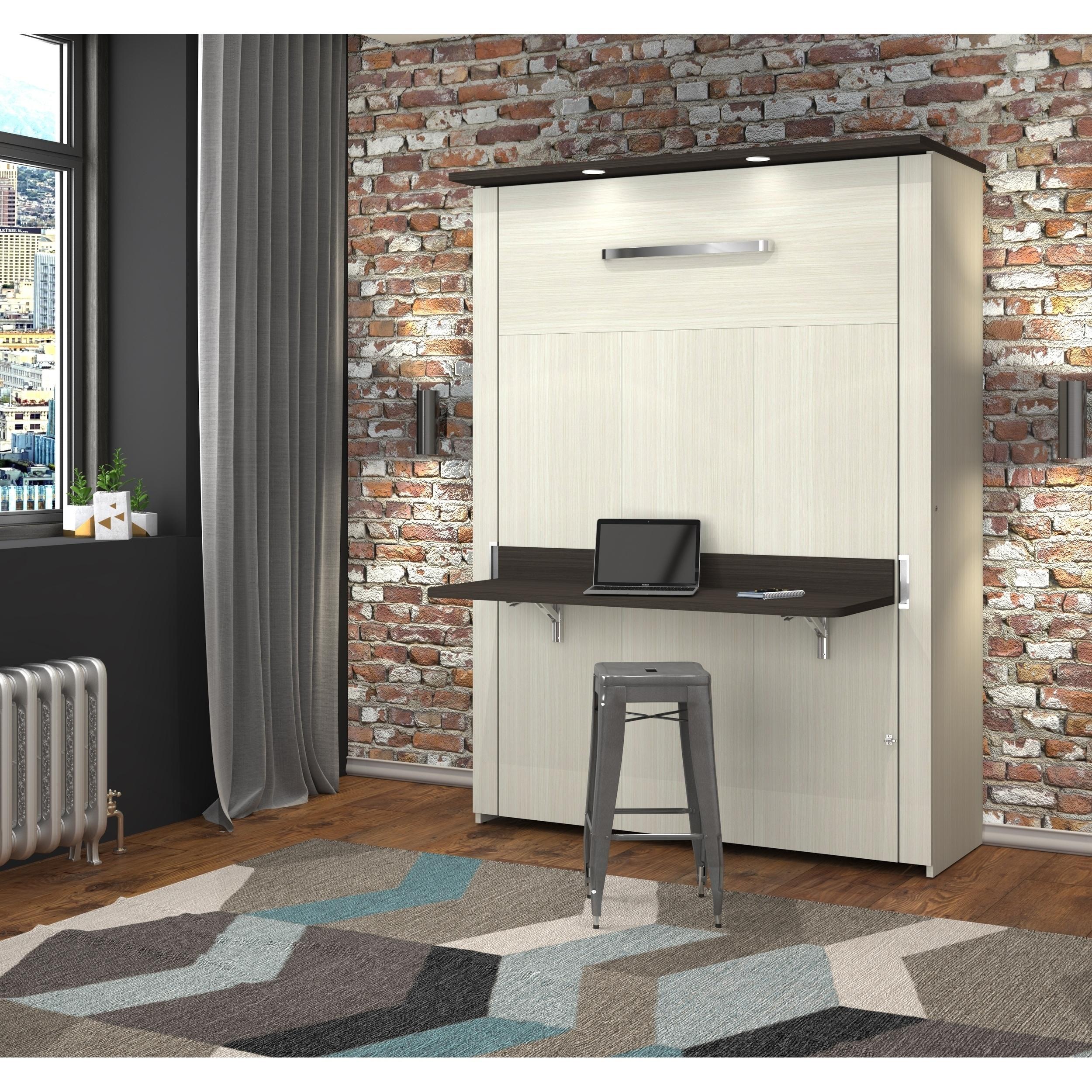 Bestar Lumina Full Wall Bed With Desk In White Chocolate Dark