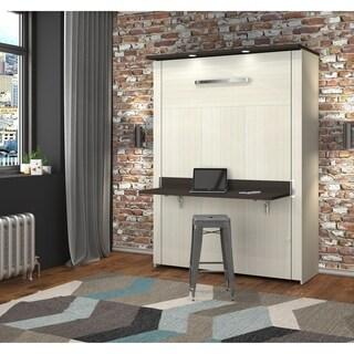 Bestar Lumina Full Wall Bed with Desk in White Chocolate & Dark Chocolate