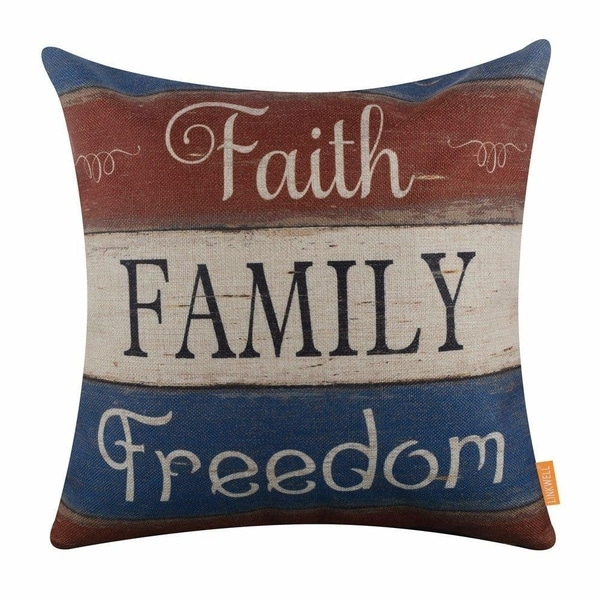 Holiday Faith Family Freedom Burlap Pillow Cover On Free Shipping Orders Over 45 22065756