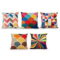 Multicolor Square Decorative Throw Cushion Covers 18 x18 inch Set of 5