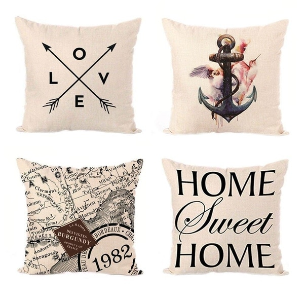 Linen Square Throw Pillow Cases Cushion Covers Textured