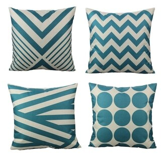 "Teal Decorative Throw Pillow Covers Cases 18x18"" Set of 4"
