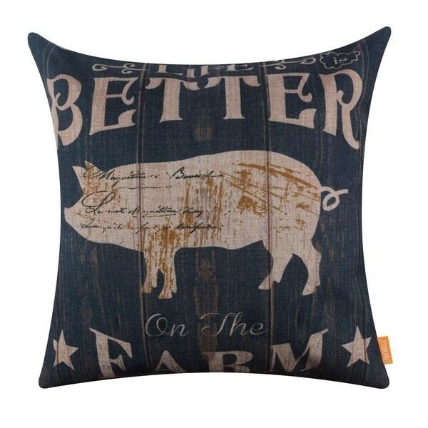 Pig Life is Better on the Farm Burlap Pillowcase