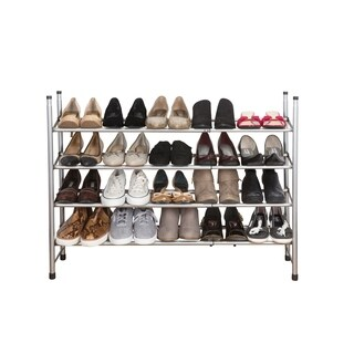 Simplify 4 Tier Expandable Shoe Rack in Grey - 4-Tier