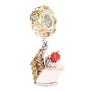 Michael Valitutti Palladium Silver Pink Tourmaline and Red Jade Cake Slice Drop Charm