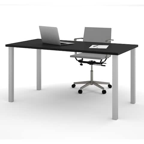 """Bestar 30"""" x 60"""" Table with square metal legs"""