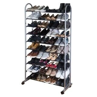 Simplify 10 Tier Mobile Shoe Rack in Grey - 10-tier