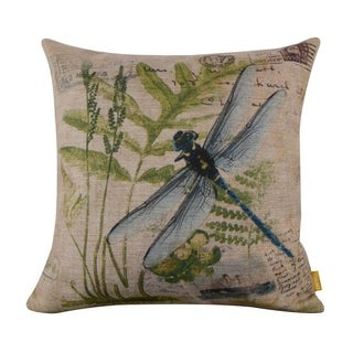 Green Paris Country Dragonfly Linen Cushion Cover Postmark