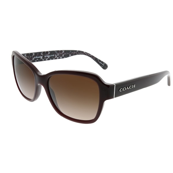 ac4254ac01d95 Coach Rectangle HC 8232 L1010 550913 Woman Oxblood Frame Dark Brown Gradient  Lens Sunglasses