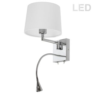 Wall Sconce w/LED Reading Lamp, PC Finish