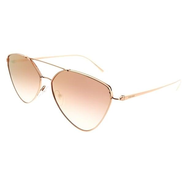 dcb0841e83323 Prada Aviator PR 51US SVFAD2 Woman Pink Gold Frame Pink Gradient Mirror  Pink Lens Sunglasses