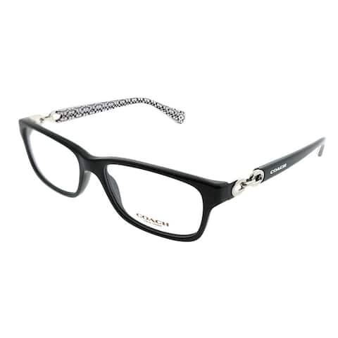 Coach Rectangle HC 6052 Fannie 5214 Woman Black on Black White Sig Frame Eyeglasses