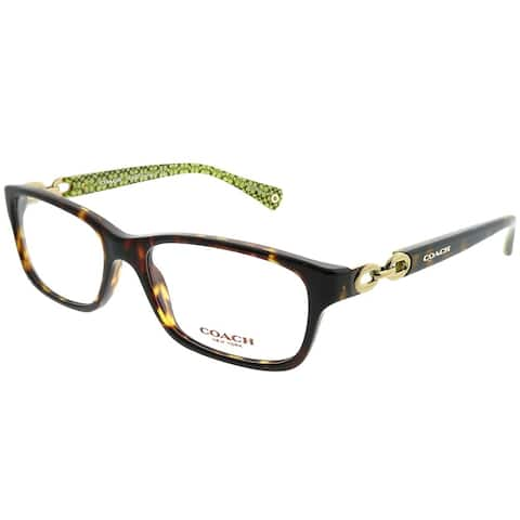 Coach Rectangle HC 6052 Fannie 5232 Woman Dark Tortoise on Green Sig Frame Eyeglasses