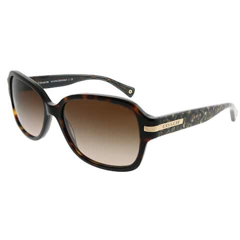Coach Rectangle HC 8105 L082 Amber 522713 Woman Dark Tortoise Beige Ocelot Sig C Frame Dark Brown Gradient Lens Sunglasses