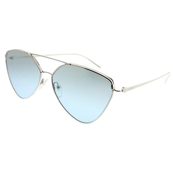 cc7b2b32a0 Prada Aviator PR 51US 1BC096 Woman Silver Frame Blue Gradient Mirror Lens  Sunglasses