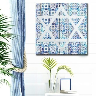 Ready2HangArt Inspirational 'Star of David IV' Wrapped Canvas Judaica Wall Art - Blue