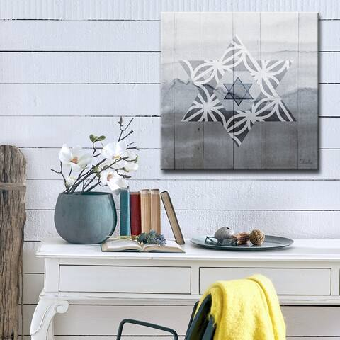 Ready2HangArt Inspirational 'Star of David VI' Wrapped Canvas Judaica Wall Art - Grey