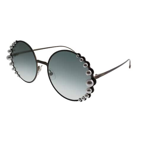 e903604ed976b Fendi Round FF 0295 Ribbons And Pearls J7D EZ Women Semi Matte Bronze Frame  Silver Mirror