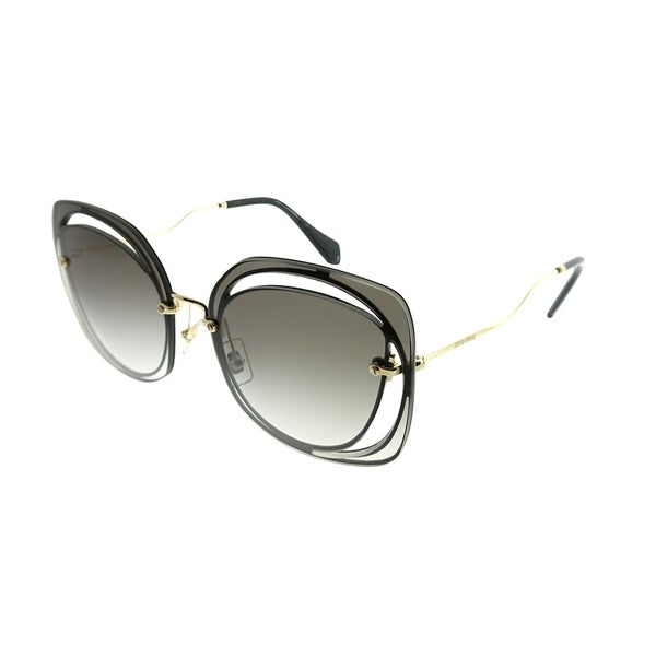 e7e6cce6b886 Miu Miu Fashion MU 54SS Scenique Cut-out 1AB0A7 Woman Black Frame Grey  Gradient Lens