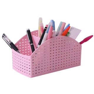 Pink Plastic Desktop Storage Organizer Caddy