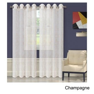 Superior Embroidered Imperial Trellis Sheer Grommet Curtain Panel Pair