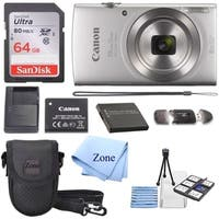 Canon PowerShot ELPH 180 Digital Camera w/Image Stabilization & Smart AUTO Mode (Silver) +64GB SD Card+ Extra Battery Bundle kit