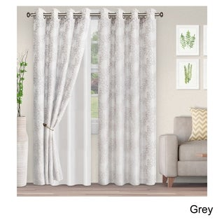 Superior Embroidered Foliage Sheer Grommet Curtain Panel Pair