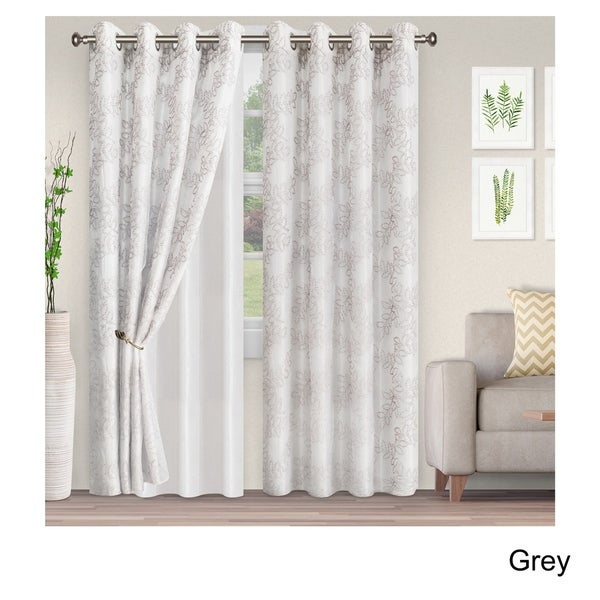 Shop Superior Embroidered Foliage Sheer Grommet Curtain