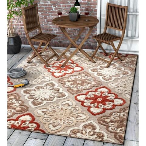 "Well Woven Modern Panel Indoor Outdoor Area Rug High-Low Pile Carpet - 5'3"" x 7'3"""