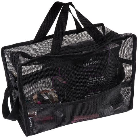 SHANY Collapsible Makeup Mesh Bag and Cosmetics Travel Tote with Pockets  Black