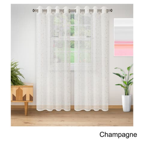 Superior Embroidered Delicate Flower Sheer Grommet Curtain Panel Pair