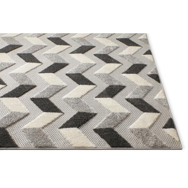 Modern Rug Living Room Kitchen Carpets Geometric Low Pile Soft Floor Mats Grey