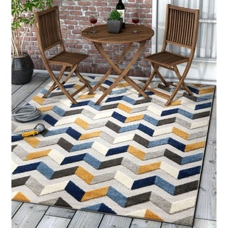 "Well Woven Modern Geometric Chevron Indoor Outdoor Area Rug High-Low Pile Carpet - 5'3"" x 7'3"""