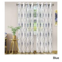 Superior Embroidered Elegant Scroll Sheer Grommet Curtain Panel Pair